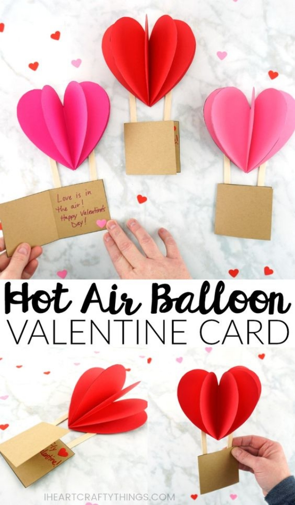 Hot air ballon valentine Card