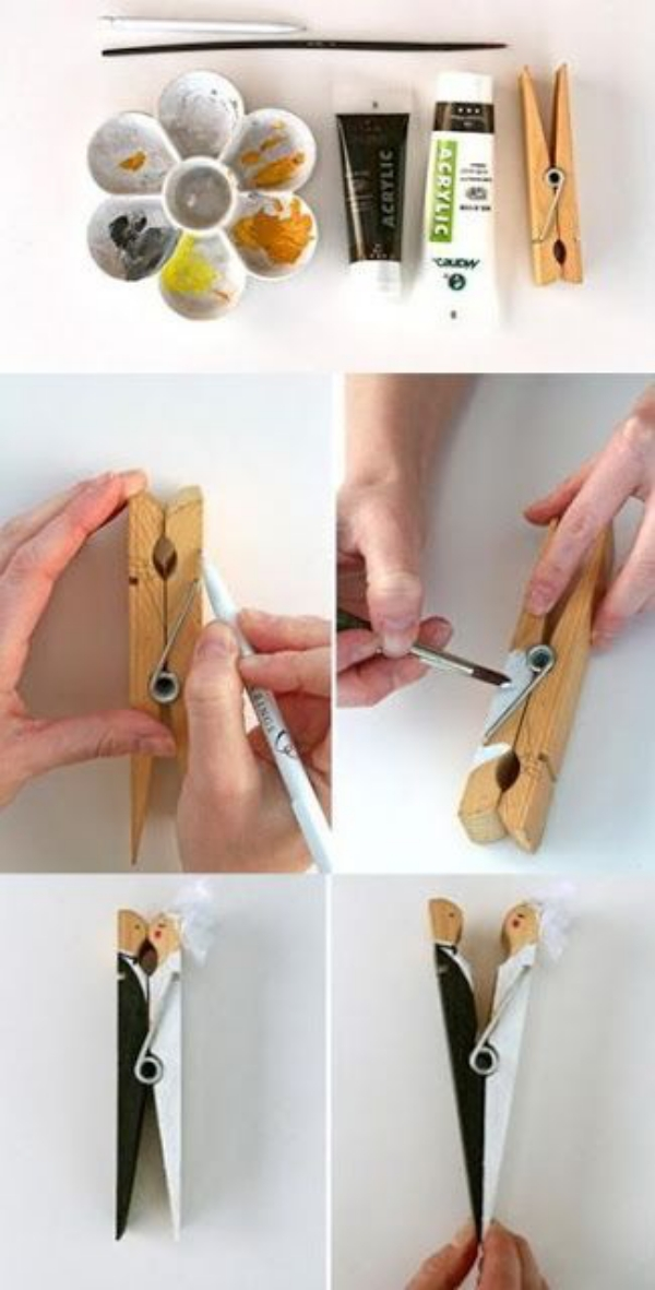 DIY Clothespin Bride and Groom Idea