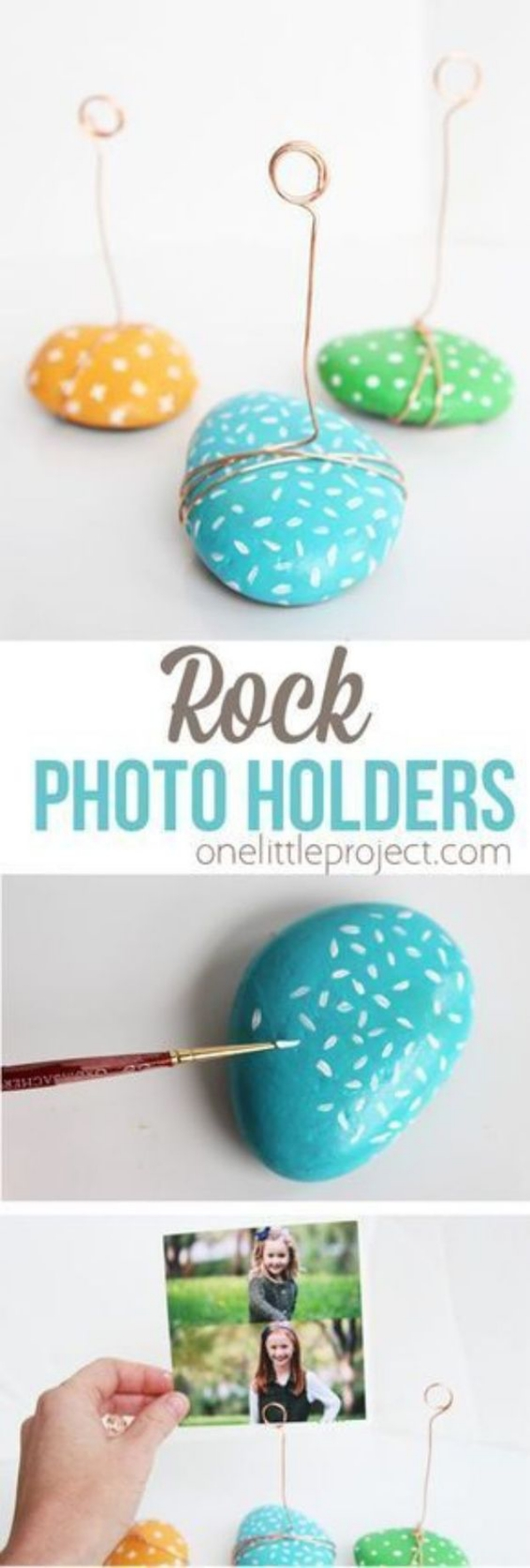 DIY Rock photo Holder